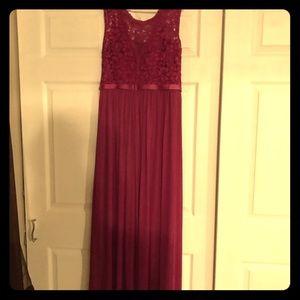 David's Bridal Raspberry Bridesmaids Dress